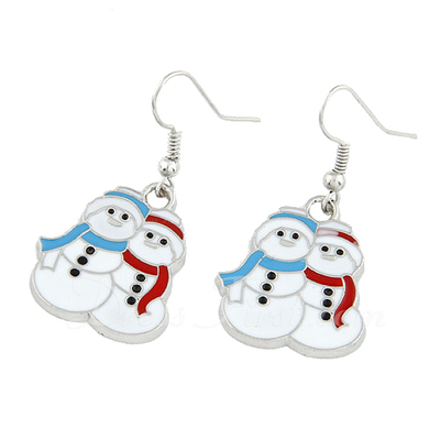 Christmas Snowman Alloy/Coloured Glaze Ladies' Earrings (011038875)