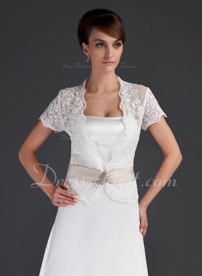 Short Sleeve Lace Wedding Wrap (013043085)