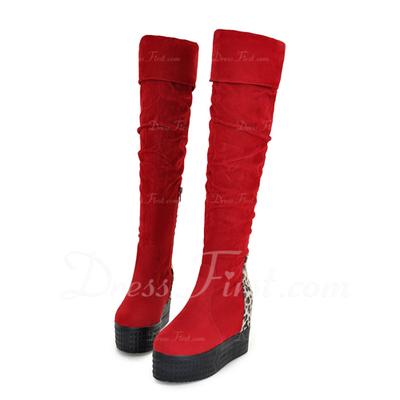 Süet Alçak Topuk Diz Yüksek Boots ayakkabı (088056381)