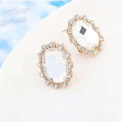 Elegant Gold Plated/Glass Ladies' Earrings (011055347)