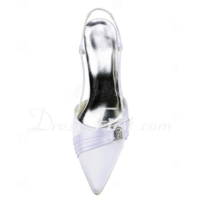 Women's Satin Stiletto Heel Closed Toe Pumps Slingbacks With Rhinestone (047011851)