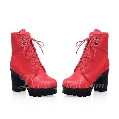 Leatherette Chunky Heel Platform Ankle Boots With Lace-up shoes (088054701)