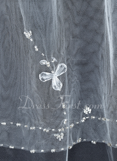 Two-tier Fingertip Bridal Veils With Beaded Edge (006034204)