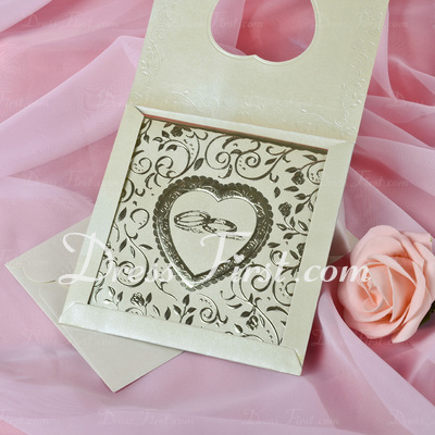 Heart Style Top Fold Invitation Cards (Set of 50) (114033300)