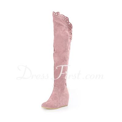 Süet Alçak Topuk Kapalı Toe Diz Boots fazla ayakkabı (088013945)
