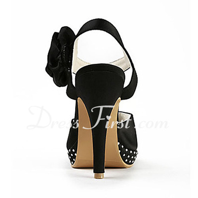 Women's Satin Cone Heel Platform Sandals Slingbacks With Rhinestone Satin Flower (047016584)