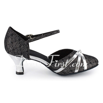 Women's Leatherette Patent Leather Heels Pumps Modern With Ankle Strap Dance Shoes (053021522)