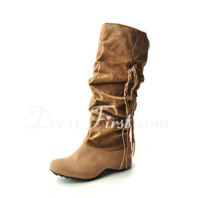Suede Chunky Heel Flats Closed Toe Mid-Calf Boots With Tassel shoes (088013946)