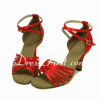 Women's Satin Heels Sandals Latin Ballroom With Ankle Strap Dance Shoes (053013581)