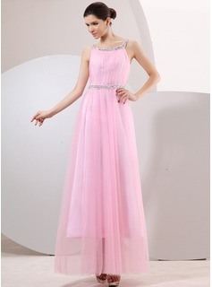 A-Line/Princess Scoop Neck Ankle-Length Tulle Holiday Dress With Ruffle Lace Beading