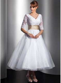 A-Line/Princess V-neck Tea-Length Tulle Charmeuse Wedding Dress With Lace Sashes Beadwork