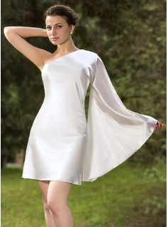 Forme Fourreau Encolure asymétrique Courte/Mini Charmeuse Robe de cocktail
