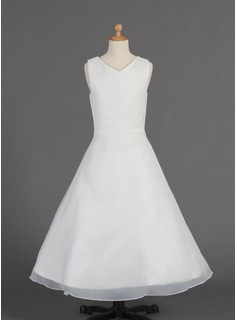 A-Line/Princess V-neck Floor-Length Organza Flower Girl Dress