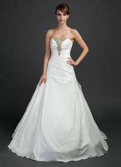 Ball-Gown Strapless Chapel Train Taffeta Wedding Dress With Ruffle Beading