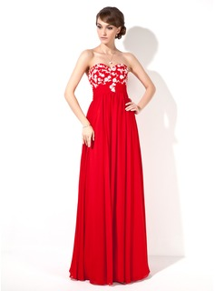 Empire Sweetheart Floor-Length Chiffon Prom Dress With Appliques Lace Flower(s)
