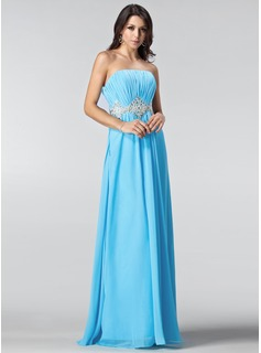A-Line/Princess Strapless Floor-Length Chiffon Prom Dress With Ruffle Beading