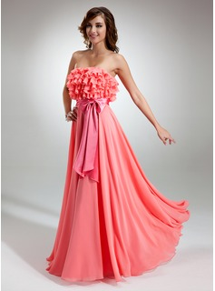 A-Line/Princess Strapless Floor-Length Chiffon Charmeuse Prom Dress With Sash Bow(s) Cascading Ruffles