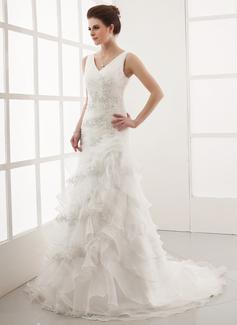 A-linjeformat V-ringning Court släp Organzapåse Bröllopsklänning med Pärlbrodering Applikationer Spetsar Svallande Krås