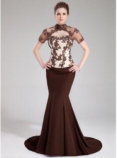 Mermaid High Neck Sweep Train Satin Tulle Charmeuse Evening Dress With Lace Beading Sequins