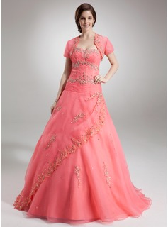 Ball-Gown Sweetheart Floor-Length Organza Quinceanera Dress With Beading Appliques Lace Sequins