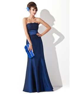 Mermaid Strapless Floor-Length Taffeta Evening Dress With Ruffle Lace