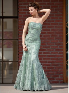 Trumpet/Mermaid Sweetheart Floor-Length Taffeta Lace Mother of the Bride Dress With Beading Sequins