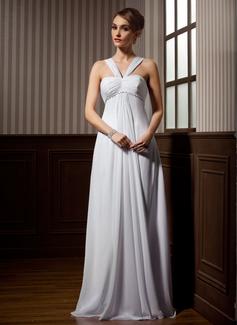Väldet V-ringning Watteau släp Chiffong Bröllopsklänning med Rufsar Pärlbrodering