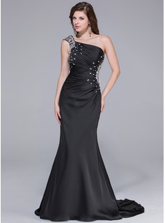 Trumpet/Mermaid One-Shoulder Watteau Train Satin Chiffon Prom Dress With Ruffle Beading