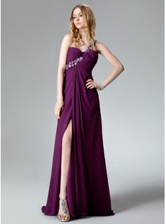 Empire One-Shoulder Sweep Train Chiffon Evening Dress With Ruffle Beading Appliques Lace Sequins Split Front