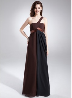 Empire One-Shoulder Floor-Length Chiffon Charmeuse Prom Dress With Ruffle