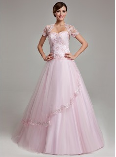 Ball-Gown Sweetheart Floor-Length Satin Tulle Quinceanera Dress With Ruffle Lace Beading