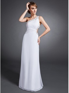 Sheath One-Shoulder Floor-Length Chiffon Evening Dress With Ruffle Beading Sequins