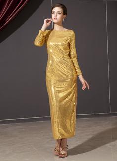 Jacka Rund-urringning Ankel-lång Paljetterad Festklänning