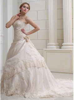 Ball-Gown Strapless Chapel Train Satin Organza Wedding Dress With Ruffle Lace Beading Crystal Brooch Flower(s)