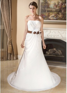 Trumpet/Mermaid Sweetheart Court Train Chiffon Satin Wedding Dress With Ruffle Sash Flower(s)