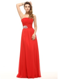 A-Line/Princess Strapless Floor-Length Chiffon Holiday Dress With Ruffle Sequins