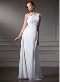 Sheath/Column One-Shoulder Sweep Train Chiffon Wedding Dress With Ruffle Beadwork (002011746)