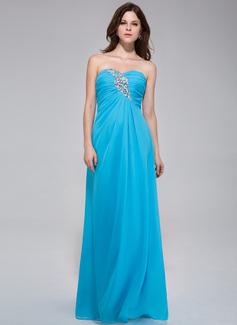 A-Line/Princess Sweetheart Floor-Length Chiffon Evening Dress With Ruffle Beading