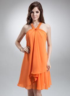 Sheath/Column Halter Knee-Length Chiffon Homecoming Dress With Beading