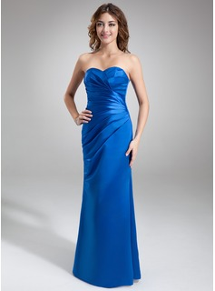 Sheath/Column Sweetheart Floor-Length Satin Bridesmaid Dress With Ruffle