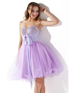 Empire Sweetheart Knee-Length Chiffon Tulle Homecoming Dress With Ruffle Beading Sequins Bow(s)