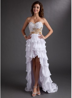 A-Line/Princess Sweetheart Asymmetrical Chiffon Prom Dress With Beading
