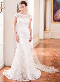 Trompete/Sereia Decote redondo Cauda watteau Tule Renda Vestido de noiva com Pregueado