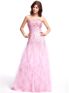 A-Line/Princess Strapless Floor-Length Tulle Prom Dress With Beading Cascading Ruffles