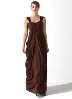 Yüksek Bel Kalp Kesimli Uzun Etekli Şifon Gelin Annesi Elbisesi Ile Büzgü