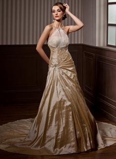 Princesový S ramínky za krkem Kostelní vlečka Taffeta Organza Svatební šaty S Volán Zdobení korálky