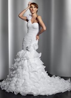 Trumpet/Mermaid One-Shoulder Chapel Train Organza Wedding Dress With Flower(s) Cascading Ruffles