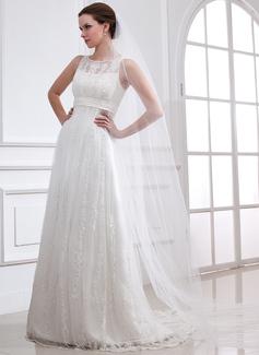 Corte A/Princesa Escote redondo Barrer/Cepillo tren Satén Tul Vestido de novia con Encaje Bordado
