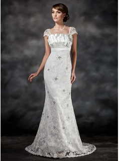 Trumpet/Mermaid Scalloped Neck Sweep Train Charmeuse Lace Wedding Dress With Ruffle Beading Sequins