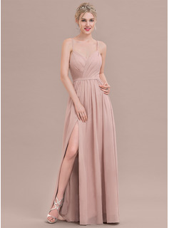 A-Line/Princess Sweetheart Floor-Length Chiffon Prom Dress With Ruffle Split Front
